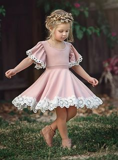 Toddler Girls' Basic Daily Solid Colored Short Sleeve Dress Blushing Pink – Best Of Likes Share Baby Girl Party Dresses, Little Girl Outfits, Little Girl Fashion, Toddler Girl Dresses, Kids Fashion, Fashion Clothes, Kid Dresses, Cute Little Girl Dresses, Fashion Tights