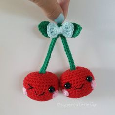 * Please note that this is a crochet pattern PDF and NOT the finished cherries * Here is two cute little cherries that you easily can make
