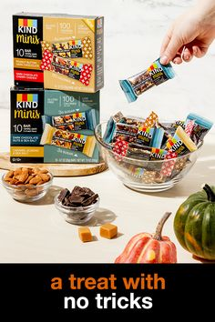Your favorite flavors, in portions, made KIND® minis the perfect Halloween treat! Enjoy all the sweet & salty flavor of two KIND favorites in mini, bars. Because life is too short not to enjoy the little things. Kind Snacks, Healthy Snacks, Healthy Halloween Treats, Teacher Treats, Good Food, Yummy Food, Tiny Food, Granola Bars, Sweet And Salty