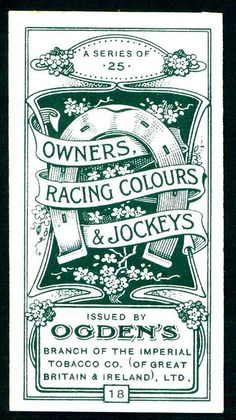 """Ogden's Cigarettes """"Owners Racing Colours & Jockeys"""" (set of 25 issued in 1914)"""