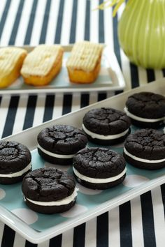 Black-and-White Whoopie Pies. Bring the bold black-and-white lines of classic comics to the baby shower with these all-American dessert sandwiches.