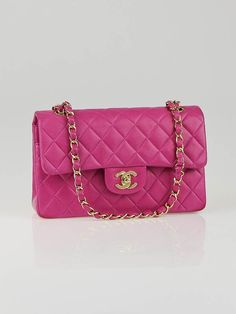 Chanel Fuchsia Quilted Lambskin Leather Small Classic Double Flap Bag #pink
