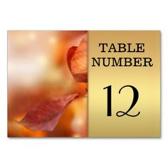 Gold Fall Leaves Table Number Card Table Cards