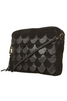Black Scalloped Front Leather & Suede Bag