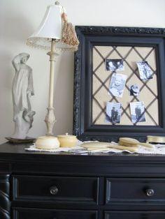 burlap & old frame memo board