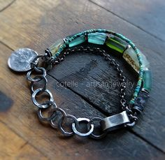 RESERVED Green Ancient Glass Bracelet and Raw by COTELLE on Etsy