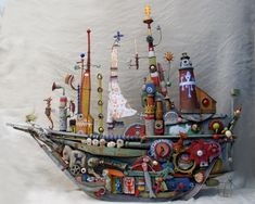 Ship of dreams made from recycled materials by Gerard Collas