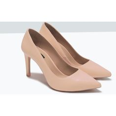 Zara Mid Height Court Shoe (£21) ❤ liked on Polyvore featuring shoes, pumps, zara court shoes, zara shoes, fleece-lined shoes, zara pumps and zara footwear