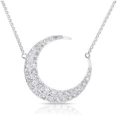 Anne Sisteron  14KT White Gold Diamond Moon With Diamond Chain... ($4,175) ❤ liked on Polyvore featuring jewelry, necklaces, white, diamond chain necklace, white diamond jewelry, chains jewelry, white jewelry and chain necklace