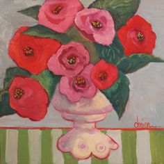 """Holiday Roses"", 12x12, oil on panel by Annie O'Brien Gonzales, Santa Fe, New Mexico"