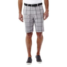 Men's Haggar® Cool 18® Flat-Front Plaid Shorts, Size: 42, Grey Other