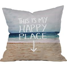 DENY Designs Leah Flores Happy Place X Beach Throw Pillow Size: Small
