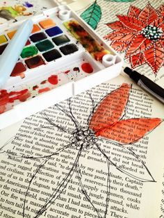 Been thinking of starting an art/poetry diary in an old book of some kind; this would be perfect! -- water-coloring on printed paper