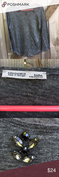 EUC Zara top Excellent condition; Darling gray super soft linen top with jewel accents at neckline; gentle curved hemline; size medium but would fit a small also; Smoke-free/pet-free home. Zara Tops