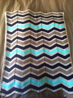 Chevron Crochet Baby Boy Blanket Navy Blue by ChevronChicBoutique, $65.00