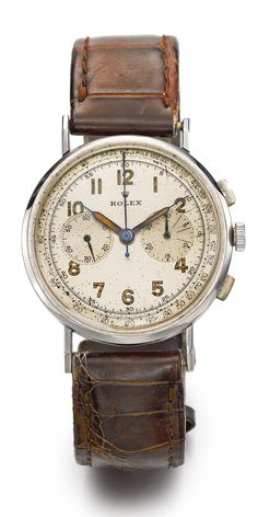 ROLEX STAINLESS STEEL CHRONOGRAPH WRISTWATCH WITH REGISTER CIRCA 1930
