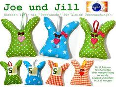 *Neu ♥ Neu ♥ Neu*...  hier bekommt Ihr zwei ganz süße Hasen, die nicht nur schnell gestickt sind, sondern auch flott gefüllt. Denn ihr braucht keine Wendeöffnung schließen: +*Joe und Jill*+ aus...