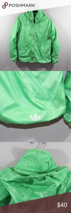 Adidas Lined Full Zip Hooded Trefoil Jacket Green Adidas Lined Spell Out Trefoil Hooded Jacket  Jacket  Comes from a smoke-free household  Hood can tuck away into the neck  The size is Medium   Measurements are:  19.5 inches underarm to underarm 25 inches top to bottom  Polyester  Lime Green  Check out my other items in my store!  XL1 adidas Jackets & Coats