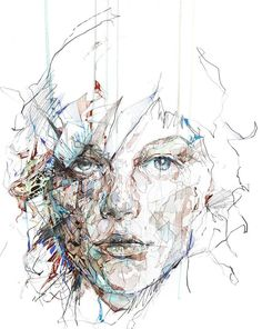 Tea and ink on paper art by Carne Griffiths - London, UK artist Art And Illustration, Art Beauté, Arte Sketchbook, Wow Art, Fine Art, Street Art Graffiti, Portrait Art, Portraits, Painting & Drawing