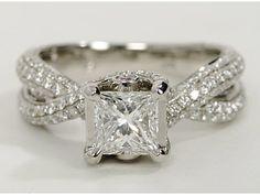 Monique Lhuillier Twist Trellis Engagement Ring in Platinum