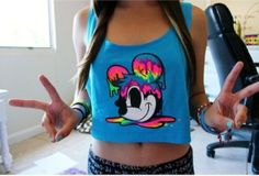 mickey mouse shirt mickey blue mickeymouse style Disney Rainbow drip ombre tank top peace