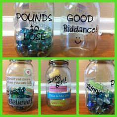 Motivational Weight-Loss jars! :)  How do you like this idea @Maureen Mills Mills Lloyd-James