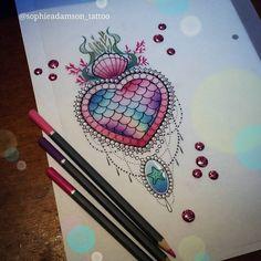 Mermaidy shell heart anyone? EMAIL/MESSAGE ME FOR INFO (fb link in bio) 😊😚 Please do not copy #tattoo #design #mermaid #shell #hearttattoo #inkstagram #uktattoo #plymouth #starfish #cute #neotraditional #ladytattooers #tattooartist