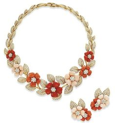 A SET OF CORAL AND DIAMOND 'ROSE DE NOEL' JEWELRY, BY VAN CLEEF & ARPELS