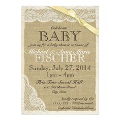 Vintage Lace and Bow Baby Shower Yellow Custom Announcement