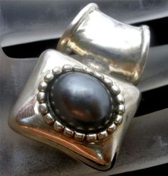 Vintage Sterling Silver Slide Pendant Tahitian Pearl for Necklace Faux Pearl