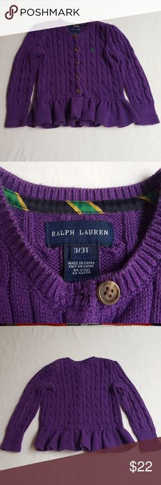 Ralph Lauren girls cardigan w/ruffled peplum Bright and beautiful little girls cardigan in EUC. Has many more years of wear left. No rips, stains or tears. From pet free/smoke free home. Feel free to bundle for a discount or make me an offer! 😀 Ralph Lauren Shirts & Tops Sweaters