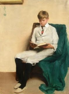 Edmund Charles Tarbell (1862-1938) - Portrait of a Boy Reading