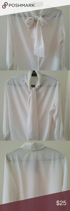 Plus Size Ivory Office Blouse Sash Collar Size 16 blouse with fringed sash. Modest blouse made of polyester. Front buttons. Orvis Tops Blouses