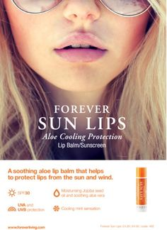 Forever Sun Lips™ is a soothing lip balm that helps to protect the delicate tissues of our lips from the sun and wind, while also offering the cooling sensation of mint! Forever Living Aloe Vera, Forever Aloe, Aloe Lips, Cucumber Detox Water, Forever Business, Perfect Lips, Flawless Beauty, Forever Living Products, Lip Balm