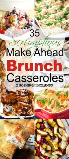 35 Scrumptious Make Ahead Brunch Casseroles by Noshing With The Nolands just in time for the holidays! Relax with one of these brunch casseroles for Christmas morning. Menu Brunch, Breakfast And Brunch, Breakfast Recipes, Brunch Food, Make Ahead Brunch Recipes, Easy Recipes, Breakfast Buffet, Breakfast Quiche, Dinner Menu