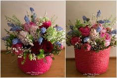 Pink, blue, red flower box with Yves Piaget roses, muscari, ranunculus, hyacinth. lilac