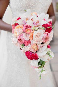 Pink & Coral Cascading Bouquet Cascade Bouquet, Rose Bouquet, White Tulips, White Roses, Wedding Themes, Wedding Signs, Wedding Bouquets, Wedding Flowers, Gold Color Palettes