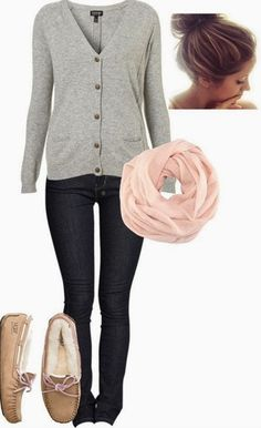 Love the mocs and the soft pink scarf! This outfit is perfect!
