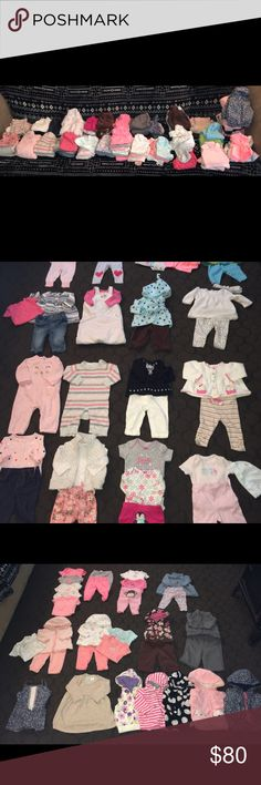 💕 Super Cute 3 Month Babygirl Outfits! 26 adorable 3 month babygirl outfits in great condition! Most outfits have multiple pieces. I have gone through in search of stains and didn't find any ( one or two could have gotten past me though ) the only real signs of wear is wash wear and normal fading! Most are Carters brand but there are a few miscellaneous in there as well! There is also one vest, one windbreaker and three sweaters in this lot! Super awesome lot for a great price! Carter's…