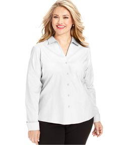 Jones New York Collection Plus Size Easy Care Long-Sleeve Shirt - Wear to Work - Plus Sizes - Macy's