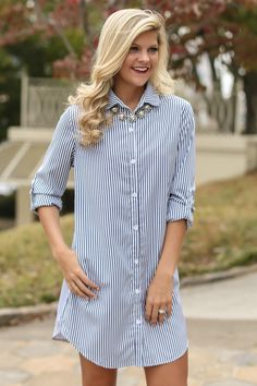 It's Strictly Business White Striped Shirt Dress at reddressboutique.com