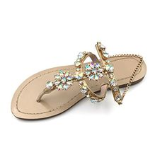 19fe194df online shopping for azmodo Women s PU Rhinestones Chains Flat Gladiator Sandals  Apricot 1625 (Plus Size Available) from top store.