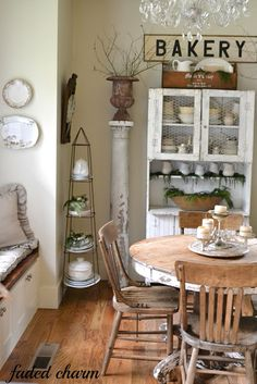 Faded Charm:mix of white and wood finishes