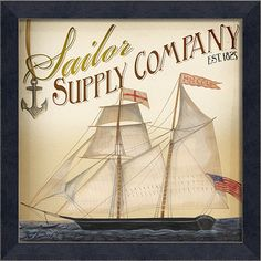 Ml Sailor Supply Company = Framed Graphic Giclee Print