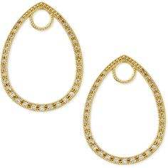 Jude Frances Classic Yellow Gold Pave Diamond Teardrop Earring Charm... (1,520 CAD) ❤ liked on Polyvore featuring jewelry, earrings, gold, 18k gold earrings, pave diamond earrings, gold loop earrings, gold charms and gold teardrop earrings