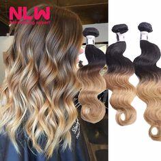 Brazilian Hair Weave Bundles Ombre 8A Virgin Human Hair Extension Ombre Hair Body Wave 4 Bundles Double Strong Weft Free Ship