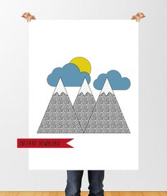 Modern Printable Wall Art, Mountain Print, Minimal Mountains and Clouds Poster, Instant Download, Mountain Art, Nursery Art Decor by tothewoodside on Etsy