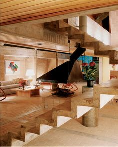 Decio Tozzi /// Geraldo Abbondanza Neto Residence /// Barra do Una, São Paulo, Brazil /// 1989 Home Design Decor, Smart Home Design, House Design, Interior Design, Cristiano Mascaro, Cement House, Concrete Interiors, Plant Aesthetic, Home Office Setup