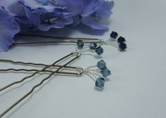 Denim Blue,Montana and Indigo Swarovski Crystal hairpins or bobby pins.Perfect for adding colour and sparkle to a Wedding or any occasion.