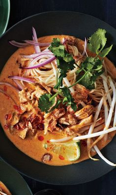 A simple curry paste gives this northern Thai–inspired soup surprising depth of flavor. A simple curry paste gives this northern Thai-inspired Chicken Khao Soi soup surprising depth of flavor. Soup Recipes, Chicken Recipes, Cooking Recipes, Pepper Recipes, Noodle Recipes, Drink Recipes, Asian Recipes, Healthy Recipes, Healthy Food